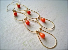 gold earrings with coral